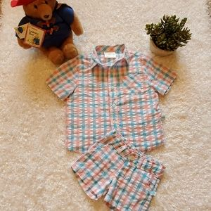 Lolly Wolly Doodle Pink & Blue Gingham Set
